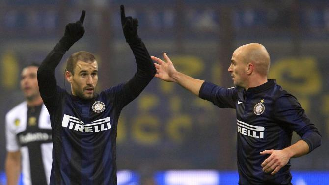 Inter Milan's Palacio celebrates after scoring against Parma during their Italian Serie A soccer match at the San Siro stadium in Milan