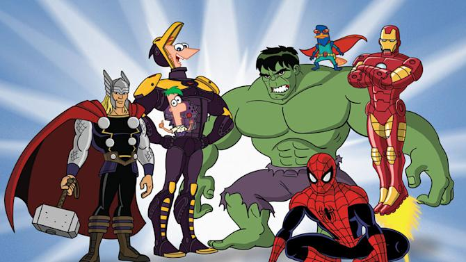 THOR, FERB, PHINEAS, HULK, SPIDER-MAN, PERRY THE PLATYPUS, IRON MAN