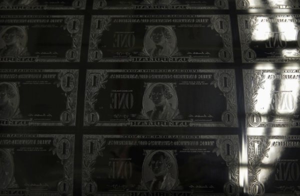 An engraving plate for United States one dollar bills is seen during