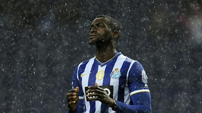 FC Porto's Jackson Martinez, from Colombia, reacts after missing a shot against against Pacos Ferreira in a Portuguese League soccer match at the Dragao stadium in Porto, Portugal, Sunday, Feb. 9, 2014. Jackson scored once in Porto's 3-0 victory
