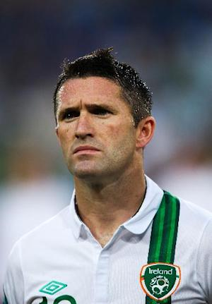 Robbie Keane trained with his Irish team-mates after arriving from LA