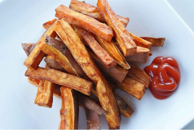 Substitute French Fries for Sweet Potato Oven Fries.