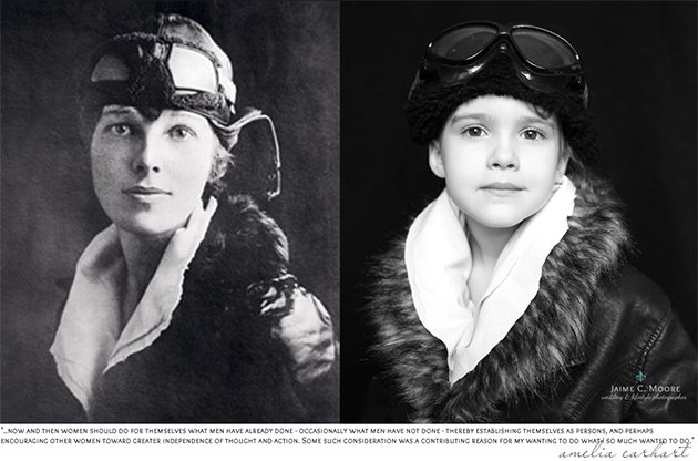 Emma poses as aviation pioneer Amelia Earhart (Jaime Moore)