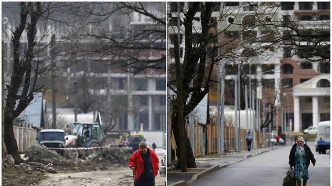 A combination of two pictures shows the development of construction within the last eleven months in the village of Krasnaya Polyana near Sochi