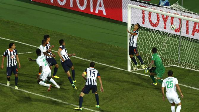 Guehi of Morocco's Raja Casablanca runs after scoring a goal against Mexico's Monterrey at extra time during their FIFA Club World Cup soccer match in Agadir