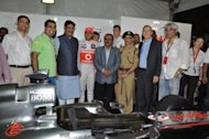International FI champion Lewis Hamilton burnt rubber at Mumbai's commercial street corridor at Bandra Kurla Complex (BKC) on Sunday