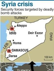 Map of Syria locating Idlib. Twin blasts targeting security buildings killed more than 20 people in the northwest Syrian city of Idlib, as an explosion was also reported in the capital, according to the Syrian Observatory for Human Rights