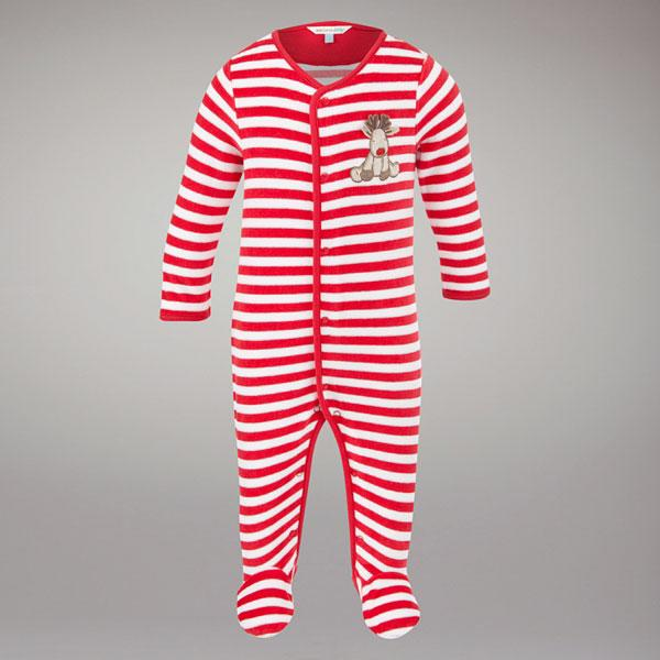 John Lewis Baby Striped Reindeer All In One, Red