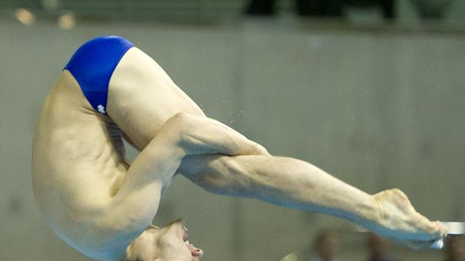 Canada's Reuben Ross competes during the men's 3m Semifinal at the FINA Diving World Cup, also doubling as a 2012 Olympics Test event, at the Olympic Aquatic Centre in east London, on February 22, 2012. AFP PHOTO / MIGUEL MEDINA (Photo credit should read MIGUEL MEDINA/AFP/Getty Images)