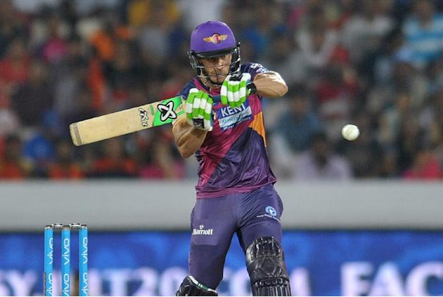 Rising Pune Supergiants Faf du Plessis plays a shot during the 2016 Indian Premier League Twenty20 cricket match between Sunrisers Hyderabad and Rising Pune Supergiants in Hyderabad  on April 26, 2016