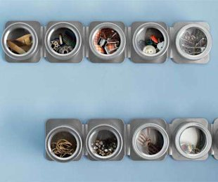 Use spice racks to organize small items in your closet