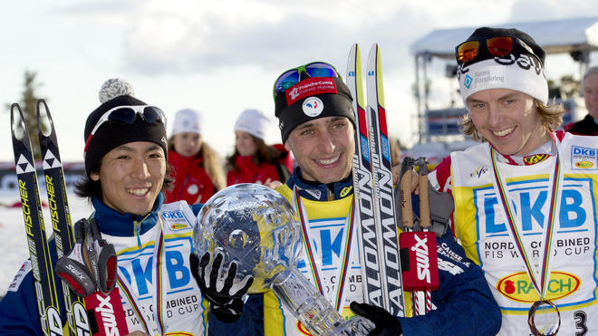 Jason Lamy Chappuis Of France (c), Flanked By Second Placed Akito Watabe (L) Of Japan And Third Placed Mikko Kokslien ( AFP/Getty Images