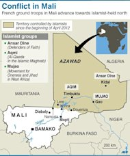Map of Mali locating northern stronghold of Islamist groups