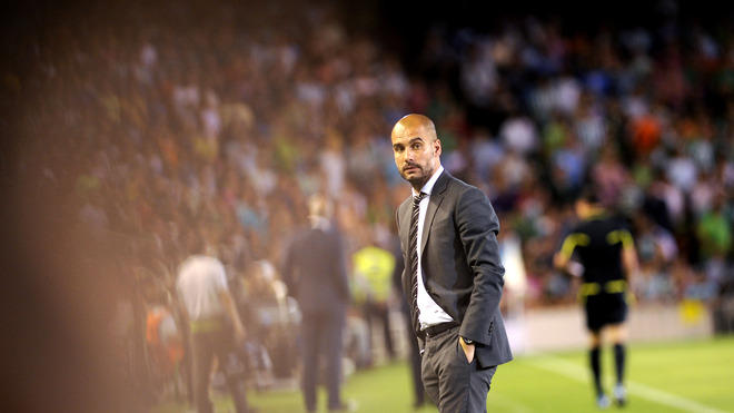 Barcelona's Coach Josep Guardiola Looks AFP/Getty Images