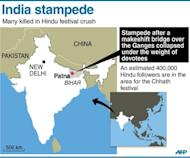 Graphic showing Patna in India where at least 18 people were killed and more than a dozen injured at a stampede on Monday