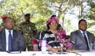 Malawian President Joyce Banda addresses a media conference in the capital Lilongwe