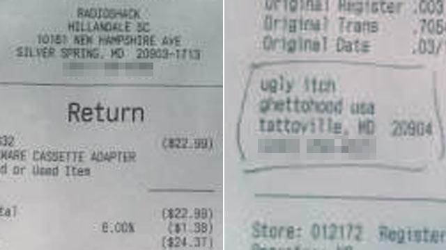 Radio Shack Receipt: Customer 'Ugly Itch' From 'Ghettohood,USA'