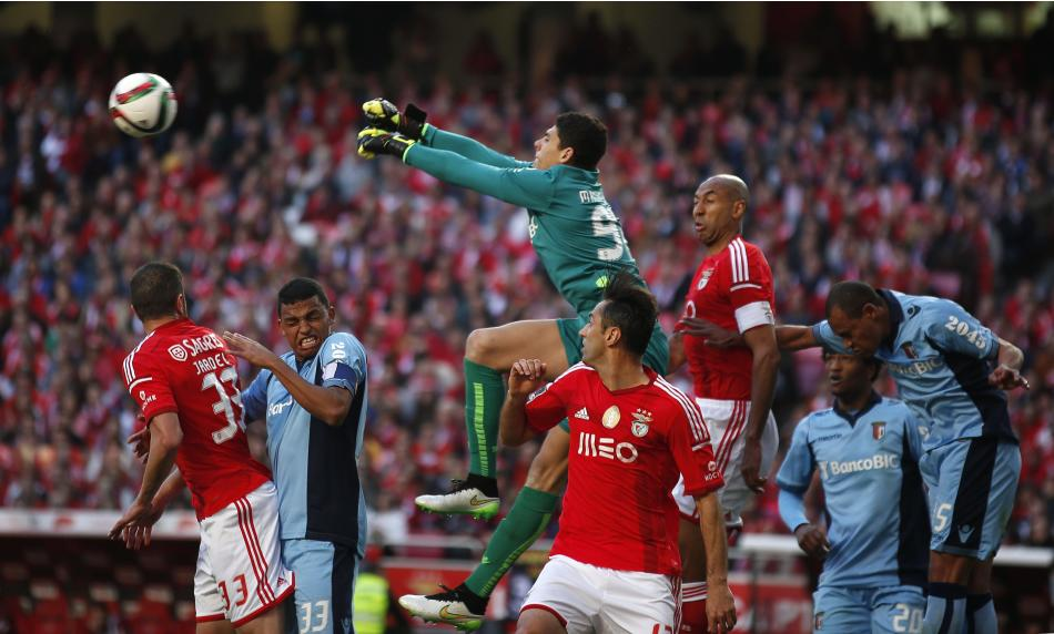Braga's goalkeeper Matheus Lima clear the ball during their Portuguese Premier League soccer match against Benfica at Luz stadium in Lisbon