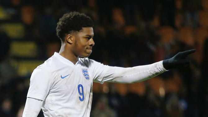 Football: England's Chuba Akpom celebrates during the penalty shoot out