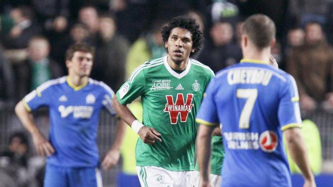 Brandao of St Etienne reacts after drawing 1-1 against Olympique Marseille during their French Ligue 1 soccer match at the Geoffroy Guichard stadium