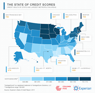 Average U.S. Credit Health and Debt in 2013, by State (Infographic) image FINAL Experian HeatMap1 600x585