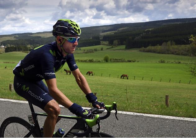 Spain's Alejandro Valverde (R) rides during the Liege-Bastogne-Liege one-day classic cycling race on April 26, 2015