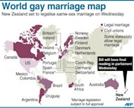 Graphic showing countries where same-sex marriages have been approved. New Zealand will hold a parliamentary vote on the issue on Wednesday, with the proposal set to pass convincingly after receiving widespread support