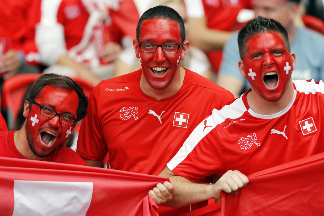 Switzerland fans before the match