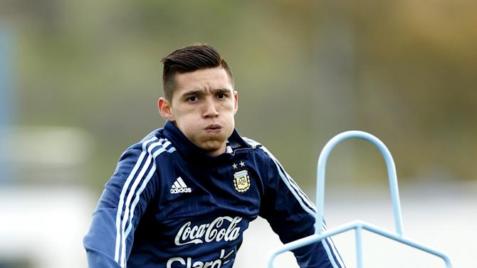 Argentina's Kranevitter warms up during a training session in Buenos Aires