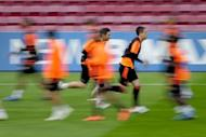 Chelsea's Frank Lampard (L) and John Terry, seen here during a training session at the Camp Nou stadium in Barcelona, on the eve of their UEFA Champions League semi-final second leg match against Barcelona