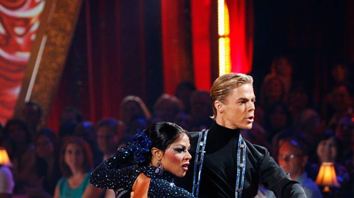 "Lil' Kim and Derek Hough perform the Paso Doble to ""El gato montes"" by Manuel Penella on ""Dancing with the Stars."""