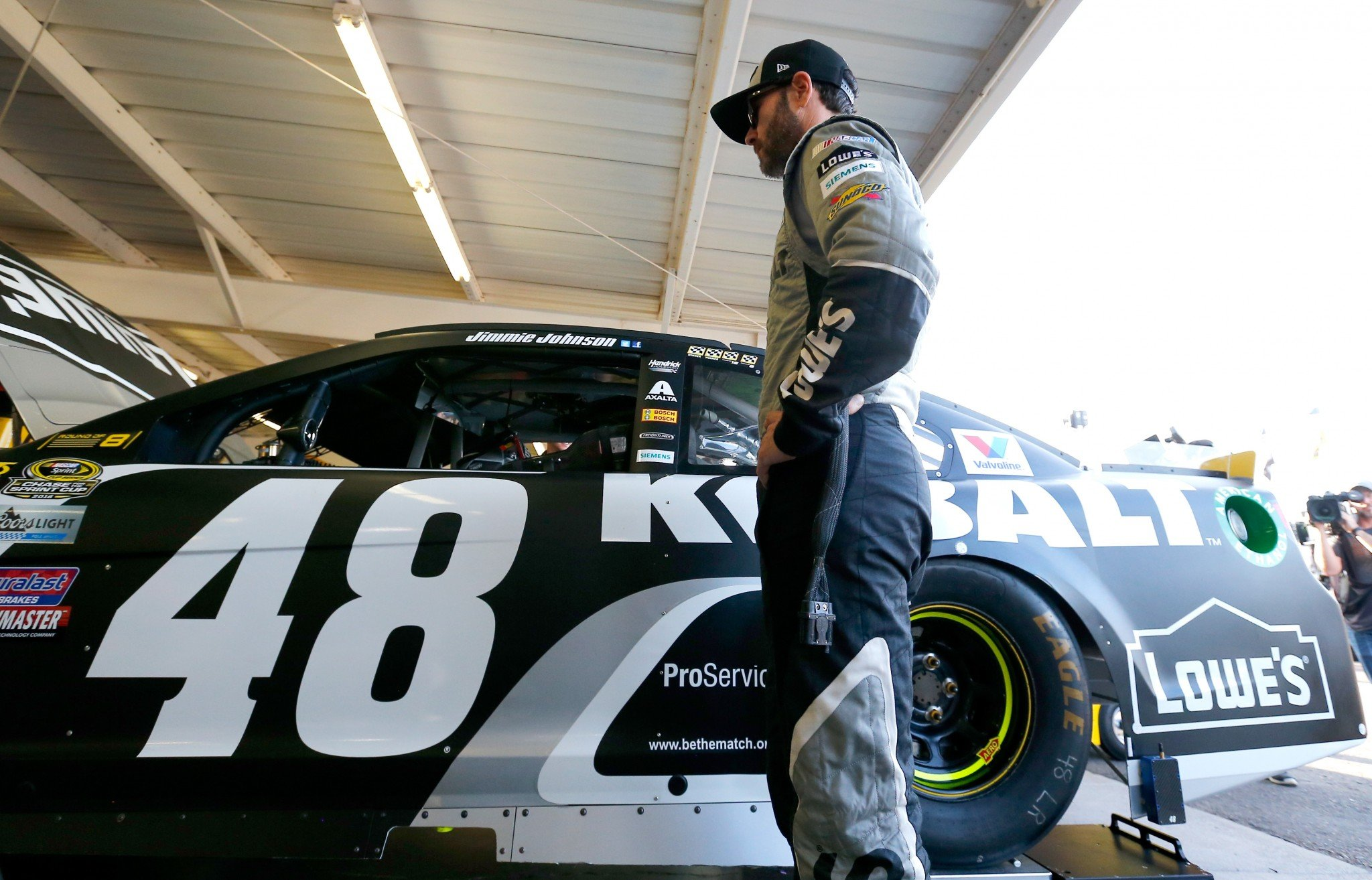 Jimmie Johnson was confused about the penalty he got Sunday. (Getty)
