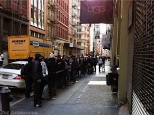 A line outside the New York City Ugg store in SoHo. Photo via Shophound.