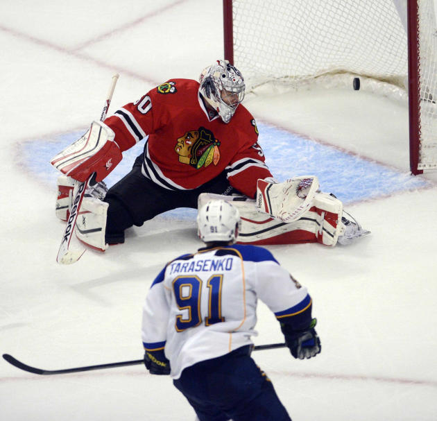 St. Louis Blues right wing Vladimir Tarasenko scores the go ahead goal in the third period past Chicago Blackhawks goalie Corey Crawford  in Game 4 of a first-round NHL hockey playoff series in Chicag