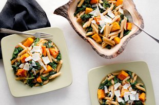 Penne with Butternut Squash and Kale