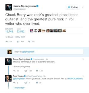 Bruce Springsteen tweets about Chuck Berry's death.