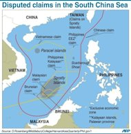 Graphic showing disputed sea border claims in the South China Sea. Tensions rose recently in the sea, where China and a host of neighbouring countries have overlapping territorial claims, with both Vietnam and the Philippines accusing Beijing of aggressive behaviour