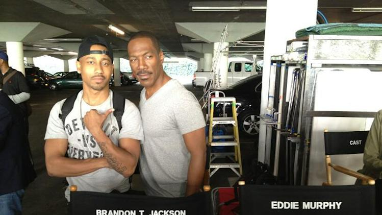 Brandon T. Jackson and Eddie Murphy on the set of