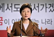 South Korea's presidential candidate of the ruling New Frontier Party, Park Geun-Hye, speaks at a press conference in Seoul, on November 5. Park promised a new policy of engagement with Pyongyang and said she would be willing to hold a summit with North Korean leader Kim Jong-Un