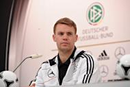 German national football team goalkeeper Manuel Neuer gives a press conference at Dwor Oliwski hotel in Gdansk