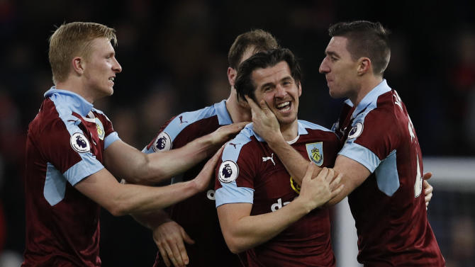 Burnley's Joey Barton celebrates scoring their first goal with team mates