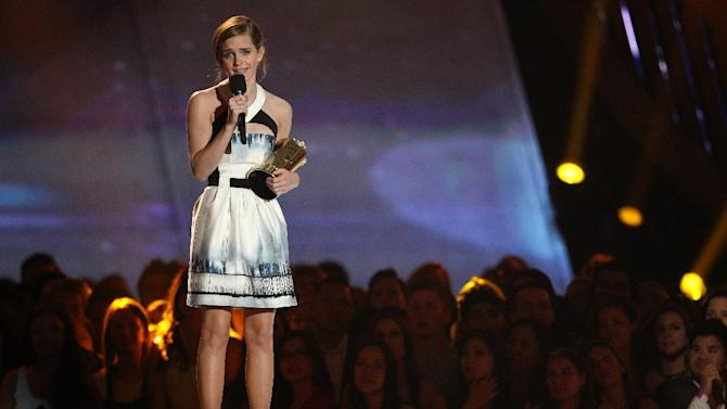 Emma Watson accepts the trailblazer award at the MTV Movie Awards in Sony Pictures Studio Lot in Culver City, Calif., on Sunday April 14, 2013. (Photo by Matt Sayles/Invision /AP)