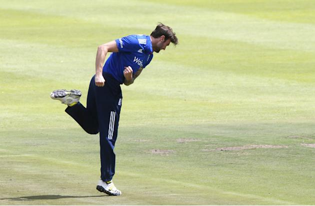 England's Topley celebrates the wicket of South Africa's Rossouw  during the One Day International Cricket match in Cape Town