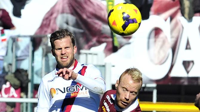 Torino midfielder Alexander Farnerud, right, and Bologna defender Mikael Antonsson, both of Sweden, vie for the ball during a Serie A soccer match between Torino and Bologna at the Olympic stadium, in Turin, Italy, Sunday, Feb. 9, 2014