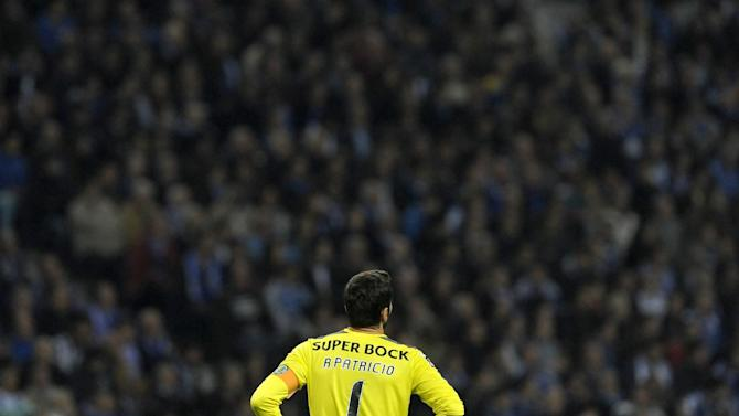Sporting's goalkeeper Rui Patricio looks on in the last minutes of a Portuguese League soccer match against FC Porto at the Dragao stadium in Porto, Portugal, Sunday, Oct. 27, 2013. Porto won 3-1 and stands top of the league