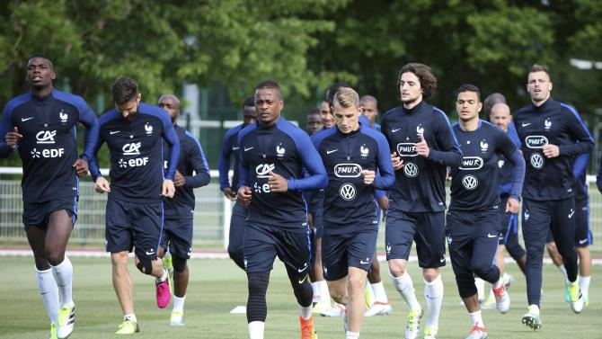 France's national soccer team players attend a training session at Clairefontaine, near Paris