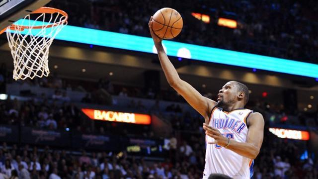 Basketball - Durant inspires Thunder to win over Heat