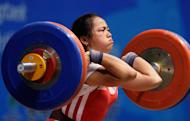 Weightlifter Hidlyn Diaz at the Asian championships last April. (Getty Images)