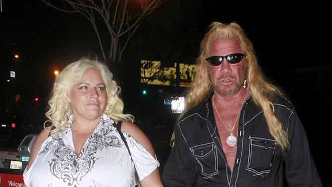The Reality TV show star Duane 'Dog' Chapman and his Co-star and wife Beth Smith have dinner in in Los Angeles