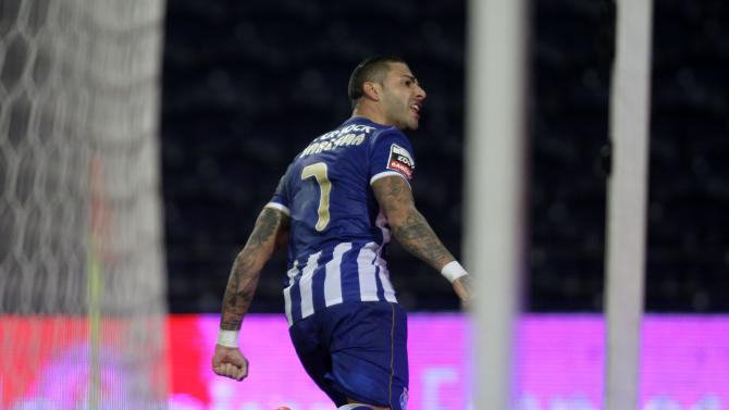 Porto's Quaresma celebrates his goal against Pazos de Ferreira during their Portuguese Premier League soccer match at Dragao stadium in Porto